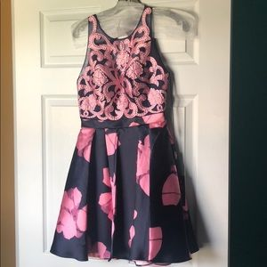 Navy and Pink Floral Formal/Prom Dress